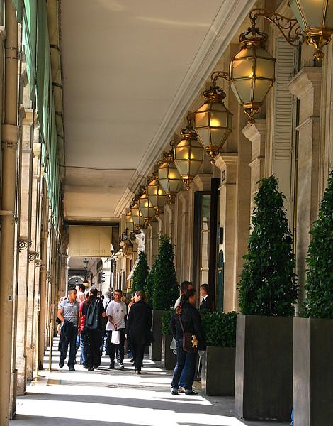 Rue de Rivoli, a covered street, full of high-end hotels and restaurants.
