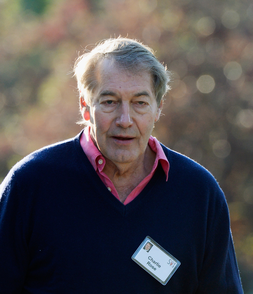 . Journalist Charlie Rose arrives for the Allen & Co. annual conference at the Sun Valley Resort on July 10, 2013 in Sun Valley, Idaho. The resort is hosting corporate leaders for the 31st annual Allen & Co. media and technology conference where some of the wealthiest and most powerful executives in media, finance, politics and tech gather for weeklong meetings. Past attendees included Warren Buffett, Bill Gates and Mark Zuckerberg.  (Photo by Kevork Djansezian/Getty Images)