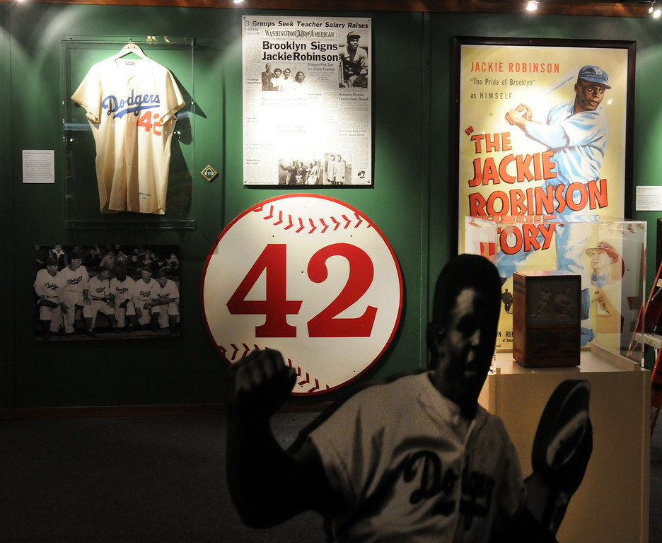 ". A section devoted to Jackie Robinson is included in the ""Baseball!\"" exhibit.The Exhibition opens April 4, 2014 at the Ronald Reagan Presidential Library and Museum.  Running through September 4, 2014, Baseball is a 12,000 square foot exhibition featuring over 700 artifacts, including some of the rarest, historic and iconic baseball memorabilia.  (Photo by Dean Musgrove/Staff Photographer)"