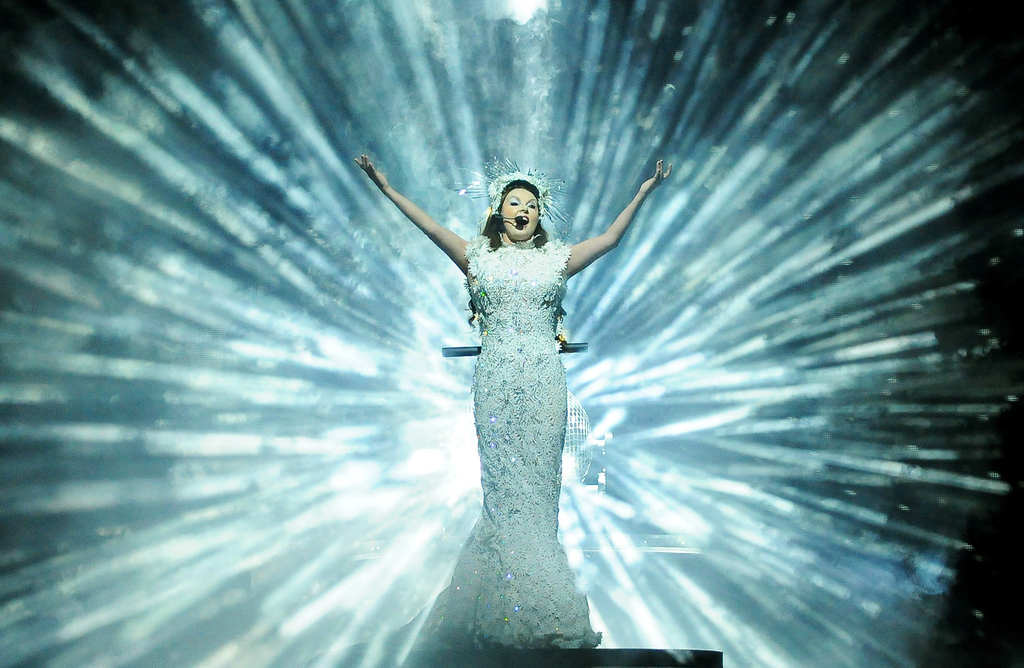 . Classical Soprano Sarah Brightman performs the song Ave Maria during her Dreamchaser tour Thursday, Oct. 17, 2013, at the Xcel Energy Center in Saint Paul.  (Pioneer Press: John Autey)