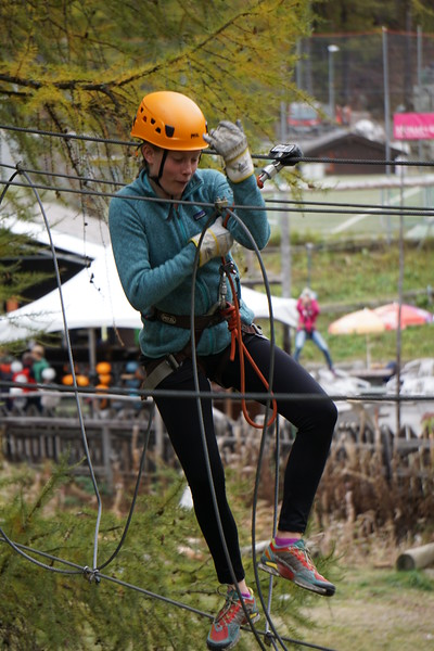 Abigael enjoying the ropes course in Zermatt