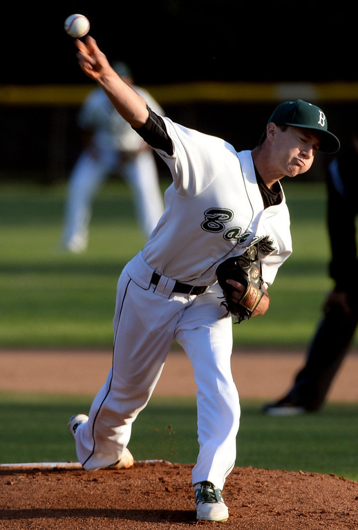 . Bonita starting pitcher Joe Willard throws to the plate against San Dimas in the first inning of a prep baseball game at Bonita High School in La Verne, Calif., on Wednesday, March 19, 2014.  (Keith Birmingham Pasadena Star-News)