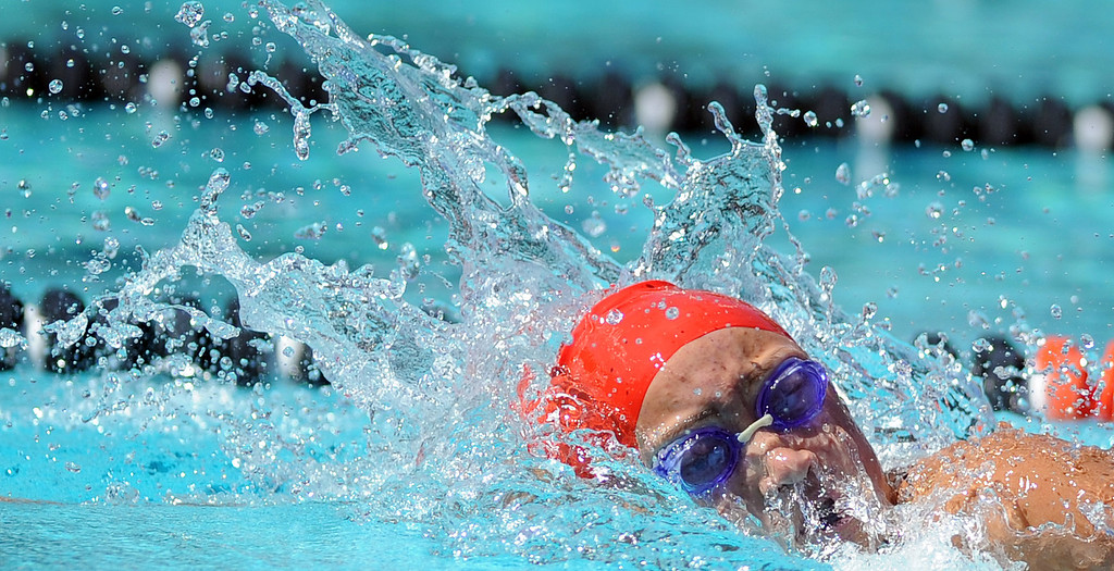 . Glendora\'s Catherine Sanchez wins the consolation final in the 200 yard freestyle during the CIF-SS Division II swim finals at Riverside City College on Saturday, May 11, 2013 in Riverside, Calif.  (Keith Birmingham Pasadena Star-News)