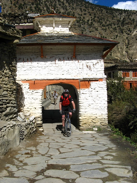 Mads coming out of the village of Marpha.