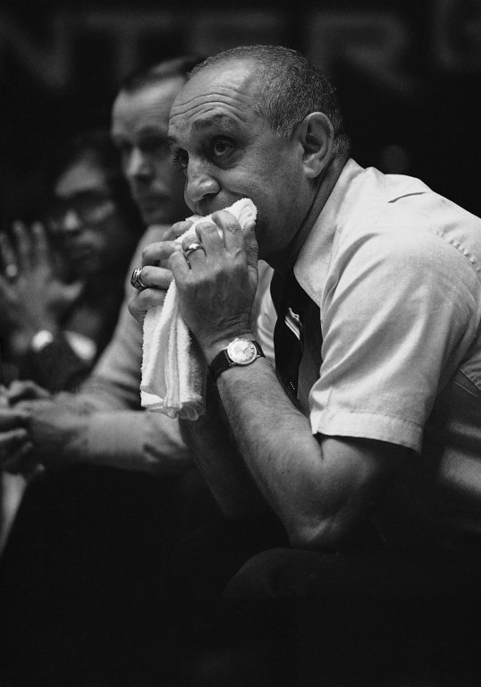 . Coach Jerry Tarkanian of the Nevada-Las Vegas basketball team, chews on a wet towel during a March 3, 1979. As a coach, Tarkanian has the highest winning percentage of any active coach and brought a major college carrier mark of 244-44 into the 1978-79 seasons. (AP Photo)
