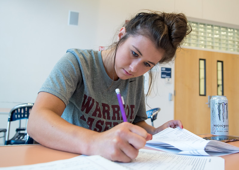 McKaylee Lenortavage works on her assignment at the Island Hall.