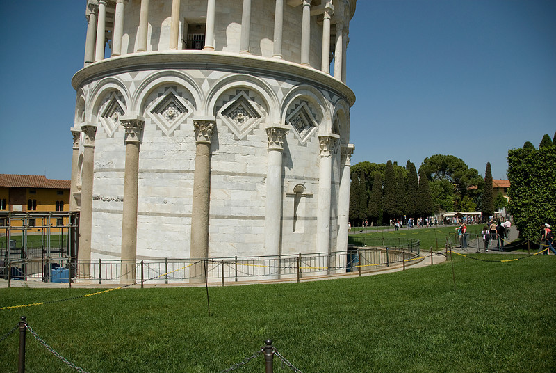 The base of the Leaning Tower of Pisa in Italy