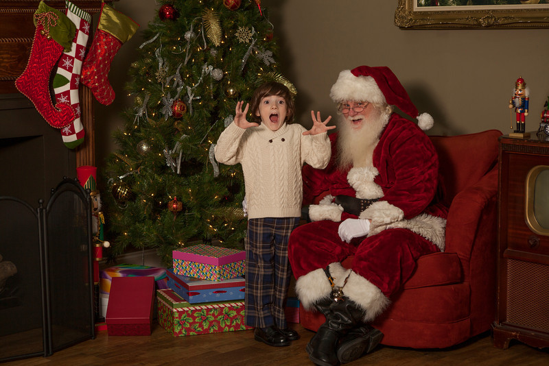 Young boy excited to meet the real Santa