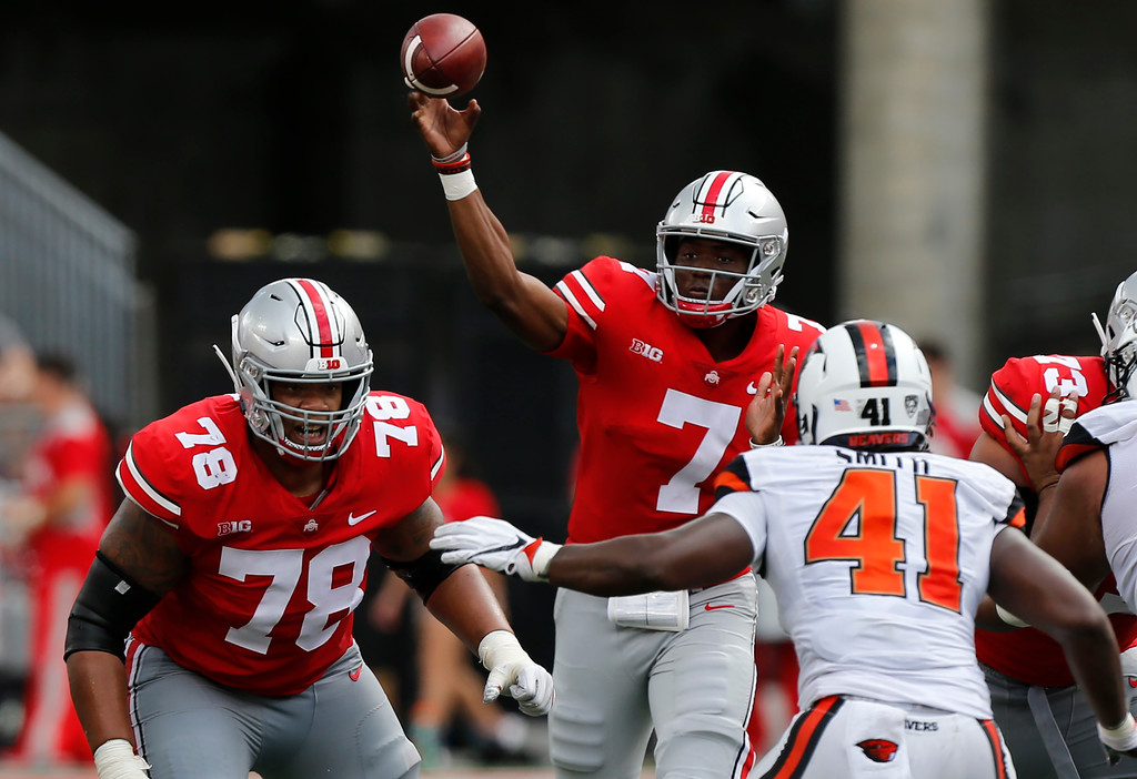 . Ohio State quarterback Dwayne Haskins throws a pass against Oregon State during the second half of an NCAA college football game Saturday, Sept. 1, 2018, in Columbus, Ohio. Ohio State beat Oregon State 77-31. (AP Photo/Jay LaPrete)