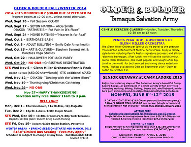 2014 Older and Bolder Fall FLYER, Tamaqua Salvation Army, Tamaqua (9-26-2014)