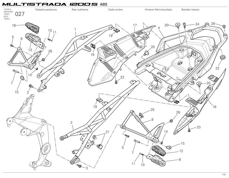Ducati Multistrada 1200 - rear sub-frames and rear panels and parts  Multistrada 1200 / 1200S 'How to & FAQs'