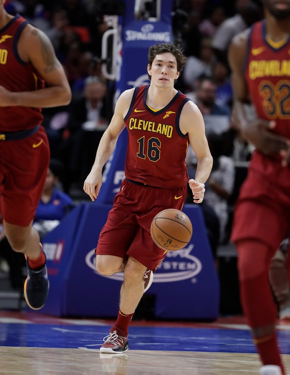 . Cleveland Cavaliers forward Cedi Osman brings the ball up court during the second half of an NBA basketball game against the Detroit Pistons, Monday, Nov. 20, 2017, in Detroit. (AP Photo/Carlos Osorio)