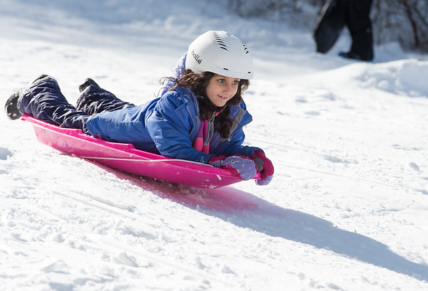 03/04/19 Wesley Bunnell | Staff Olivia Botto, age 7, sleds her way down a hill at Page Park on Monday afternoon after a storm dumped several inches of snow overnight.