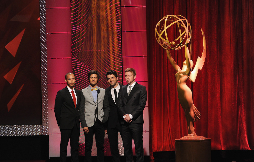 . (L-R) Actors Bryton James, Max Erich, Freddie Smith and Chandler Massey speak onstage during The 40th Annual Daytime Emmy Awards at The Beverly Hilton Hotel on June 16, 2013 in Beverly Hills, California.  (Photo by Kevin Winter/Getty Images)