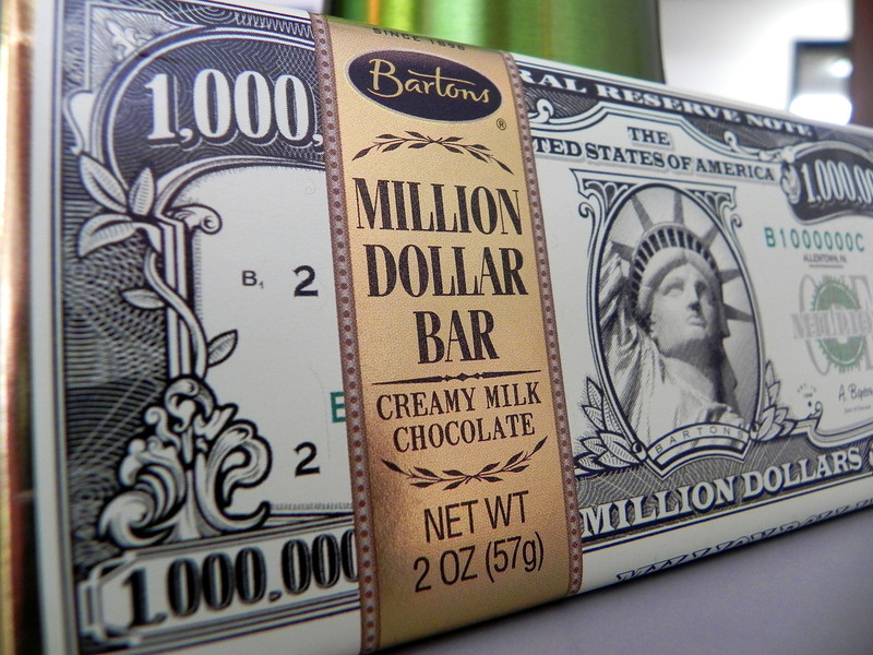 2012-1-3 ––– Last week we at Fishbowl had a big celebration when we paid off a $1 million loan to Zions Bank 84 months ahead of the scheduled payment plan. Prior to the event the President and CEO went around the office and gave each employee a million dollar chocolate bar to build the hype around the big day. Mine is sitting in my office so a snapped a shot for today's photo.
