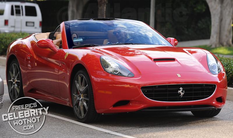 Paris Hilton Listening To Tunes In Her Ferrari California, LA