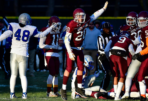11/23/2018 Mike Orazzi   Staff Bristol Central's Marcos Ocasio (20) celebrates during the Battle for the Bell at Muzzy Field Friday. Central won 24-19.