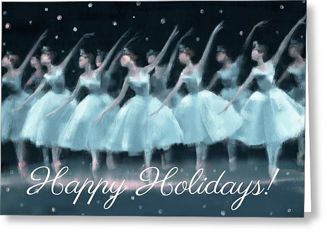 Nutcracker Ballet Waltz of the Snowflakes Holiday Greeting Card by Beverly Brown