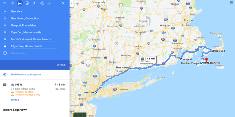 new york to cape cod map