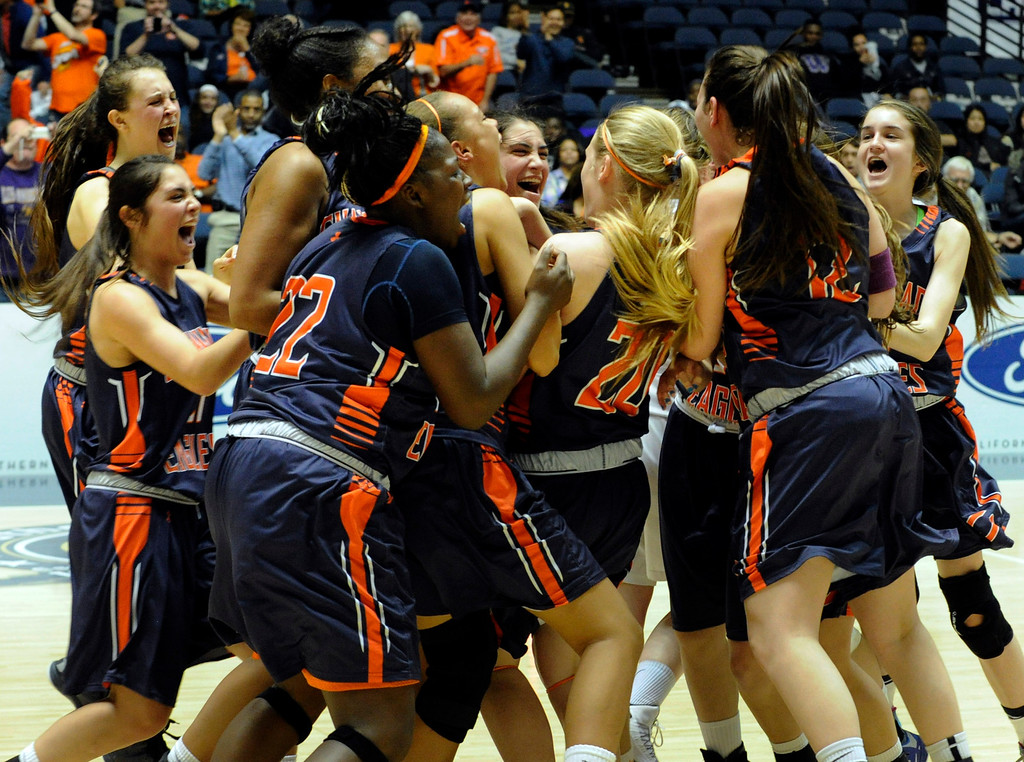 . Chaminade celebrates after they defeated St. Joseph 74-30 in the Girls Div. 3A Finals at the Anaheim Convention Center in Anaheim, CA 2/23/2013(John McCoy/Staff Photographer)