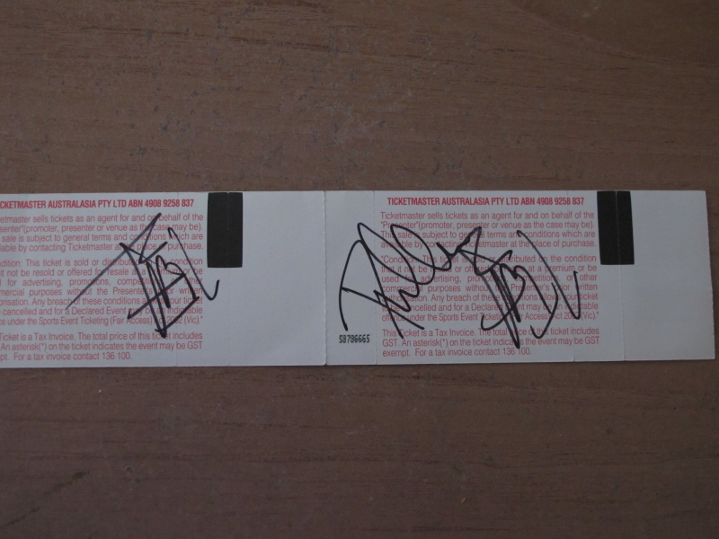 Tickets signed by Joe and Phil :o)