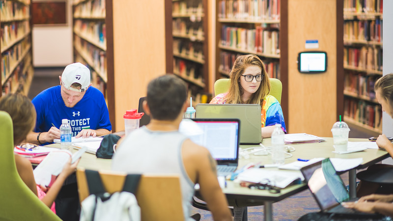 Islanders utilize the study spaces in the Mary and Jeff Bell Library.