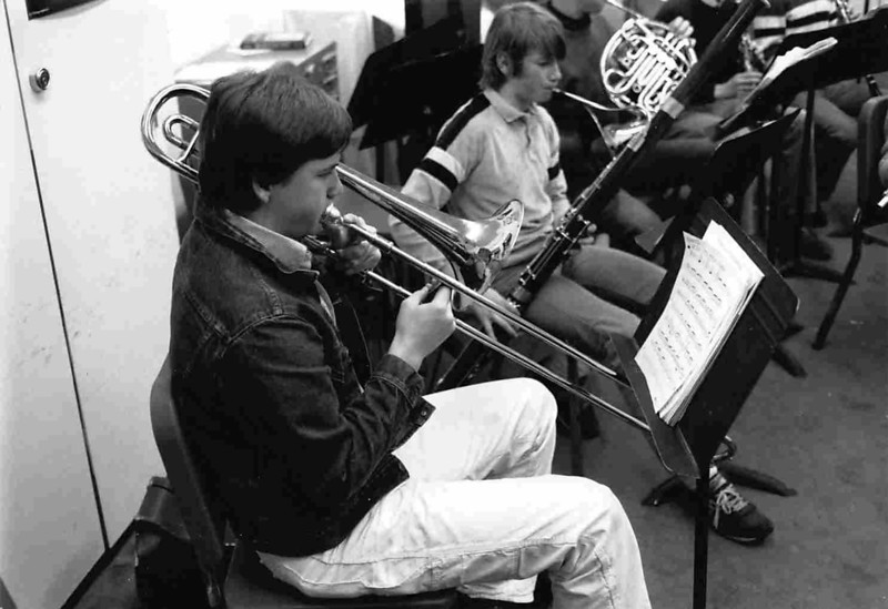 Band rehearsal in the Ferguson music room, 1970s.