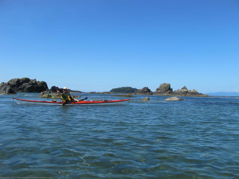 Geoff paddling his Romany