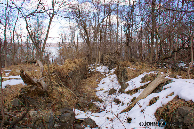Remains of Rockland Lake Ice Chute. The chute was once used to deliver blocks of ice harvested from the frozen Rockland Lake 200 feet down the mountain, to the docks below. The ice was then delivered to New York City and other locations as a form of early refrigeration.