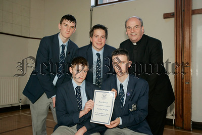 St Colmans College Junior prizegiving. Stephen Murphy recieves his Music award from Dr Francis Brown. Also in picture are school Prefects, Edward O'Hare, Michael Mulvanny and Gary Buchanan.