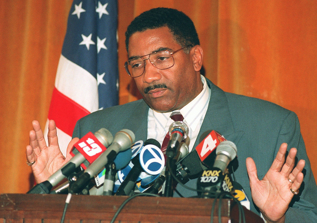 . Los Angeles Police Chief Willie Williams discusses the Mark Fuhrman tapes and the Simpson trial at a news conference at  Parker Center in Los Angeles Tuesday, Aug. 29, 1995. (AP Photo/Damian Dovarganes)