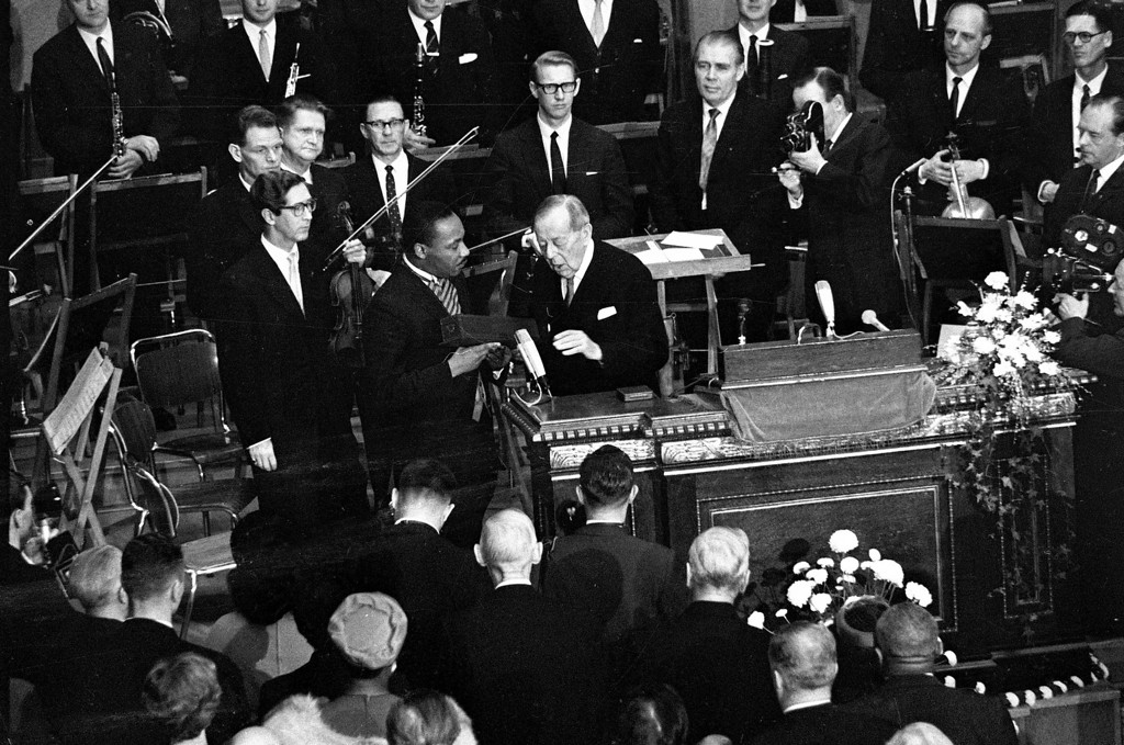. Rev. Dr. Martin Luther King, American civil rights leader, receives the Nobel Peace Prize from the hands of Gunnar Jahn, Chairman of the Nobel Committee, in Oslo, Norway, December 10, 1964.  (AP Photo)