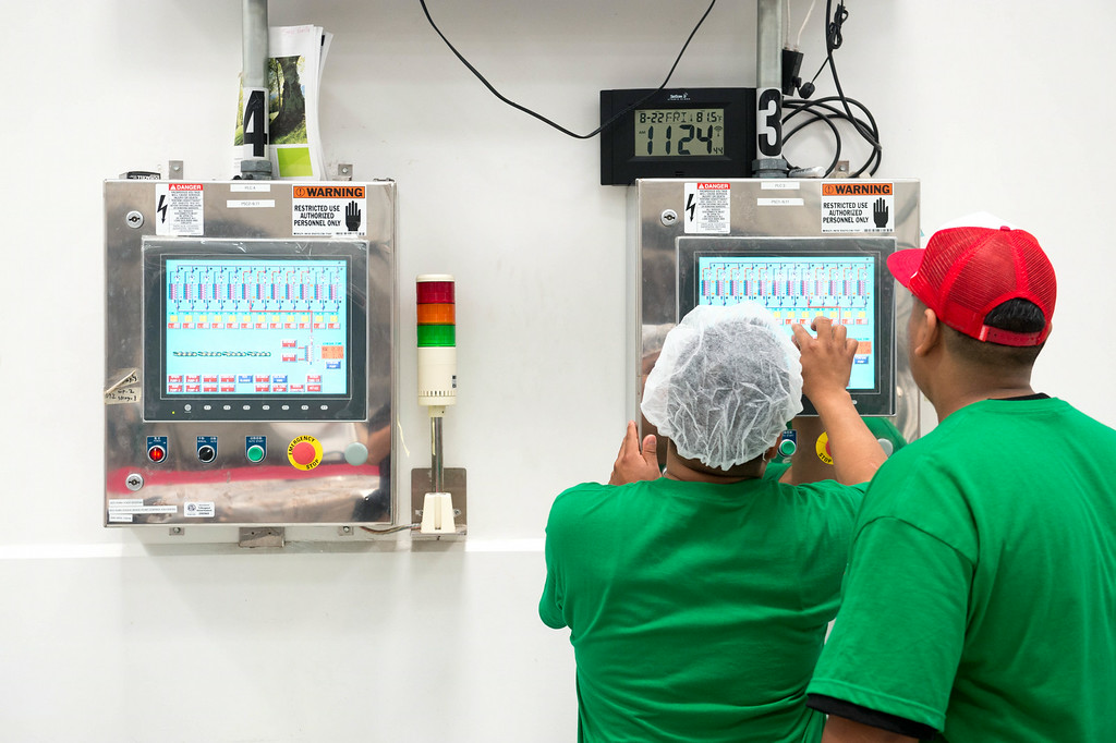 . Sriracha hot sauce factory during the chili grinding process at Huy Fong Foods in Irwindale on Friday, August 22, 2014. (Photo by Watchara Phomicinda/ Pasadena Star-News)
