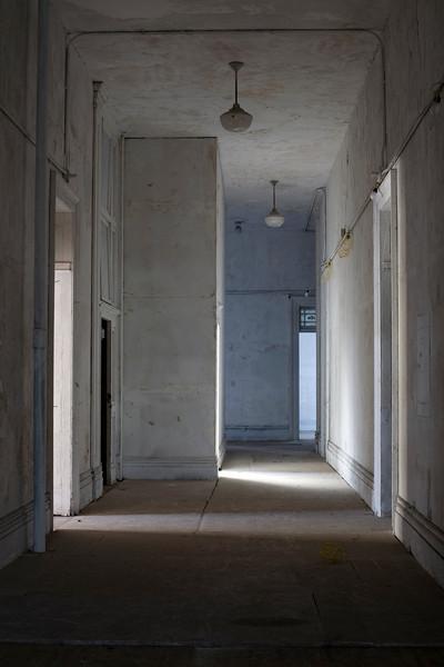 Corridor in 1838 Brooklyn Naval Hospital at daybreak.