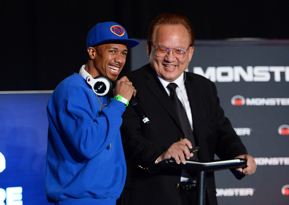 . Actor/media personality Nick Cannon (L) and Monster Inc. Founder and CEO Noel Lee speak at a press event at the Mandalay Bay Convention Center for the 2014 International CES on January 6, 2014 in Las Vegas, Nevada. CES, the world\'s largest annual consumer technology trade show, runs from January 7-10 and is expected to feature 3,200 exhibitors showing off their latest products and services to about 150,000 attendees.  (Photo by Ethan Miller/Getty Images)