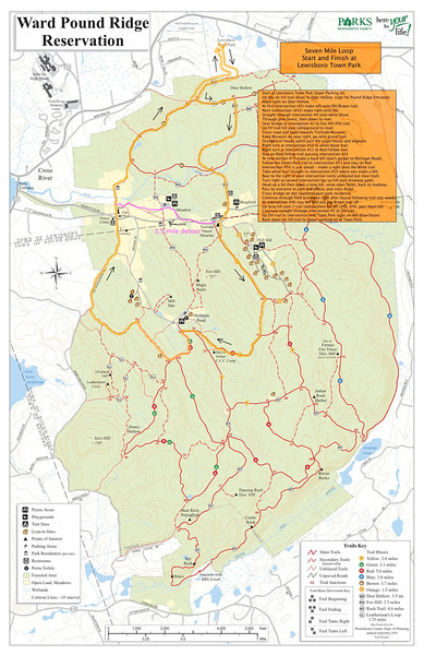 Full WPRR Map -- REVISED 7 mile Boxing Day Loop map (with 3.5 mile alternate route marked in pink).