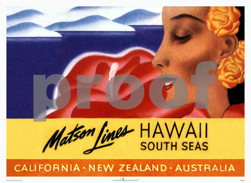 059: Well-known Ocean Navigation Company's Hawaii South Seas Luggage Label. Ca 1946. PROOF watermark will not appear on your print.
