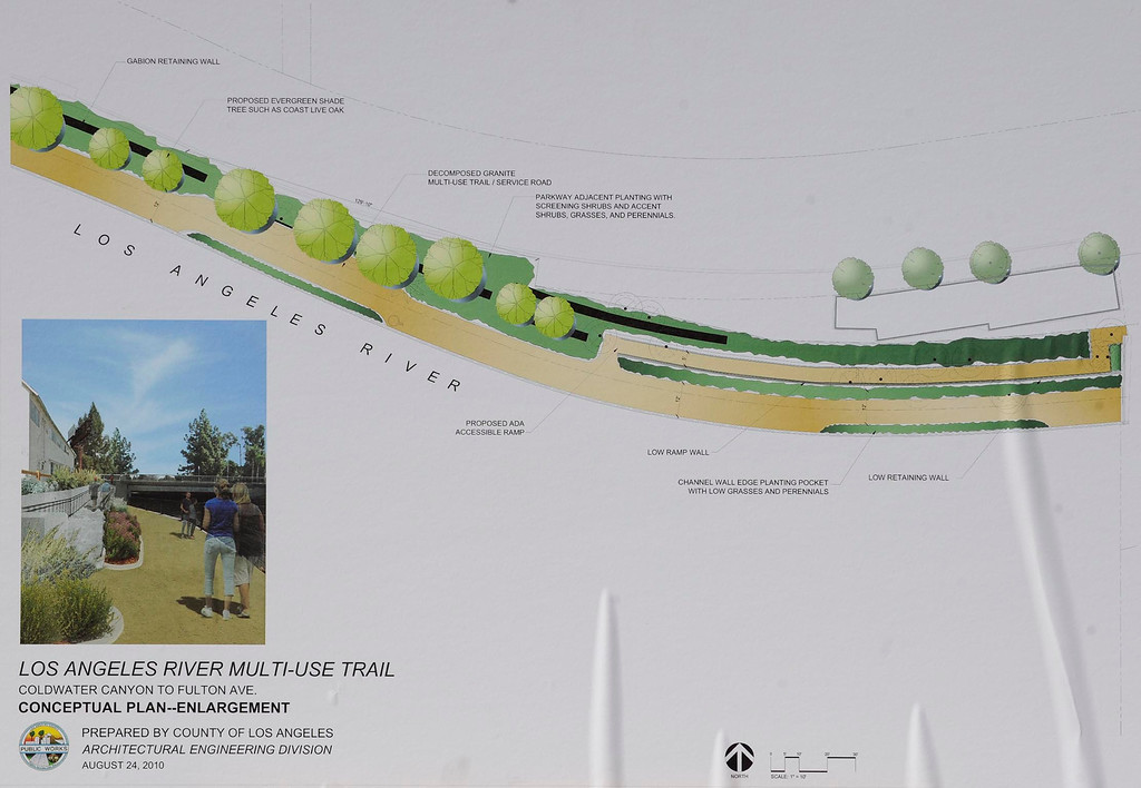 . This map is an overview of the project. LA County Supervisor Zev Yaroslavsky joined the Village Gardeners of the Los Angeles River as they broke ground for North Valleyheart Riverwalk project. The plan is to beautify and improve the ½ mile concrete channel that boarders Valleyheart Drive between Fulton and Coldwater Canyon Avenues. Studio City, CA. 7/13/2013(John McCoy/LA Daily News)