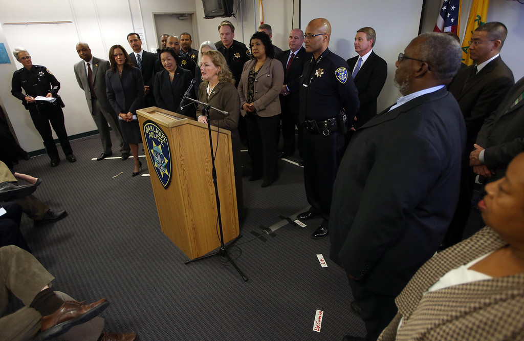 . Alameda County District Attorney Nancy O\'Malley speaks during a press conference at the Oakland Emergency Operations Center in Oakland, Calif., on Friday, March 8, 2013.  (Jane Tyska/Staff)