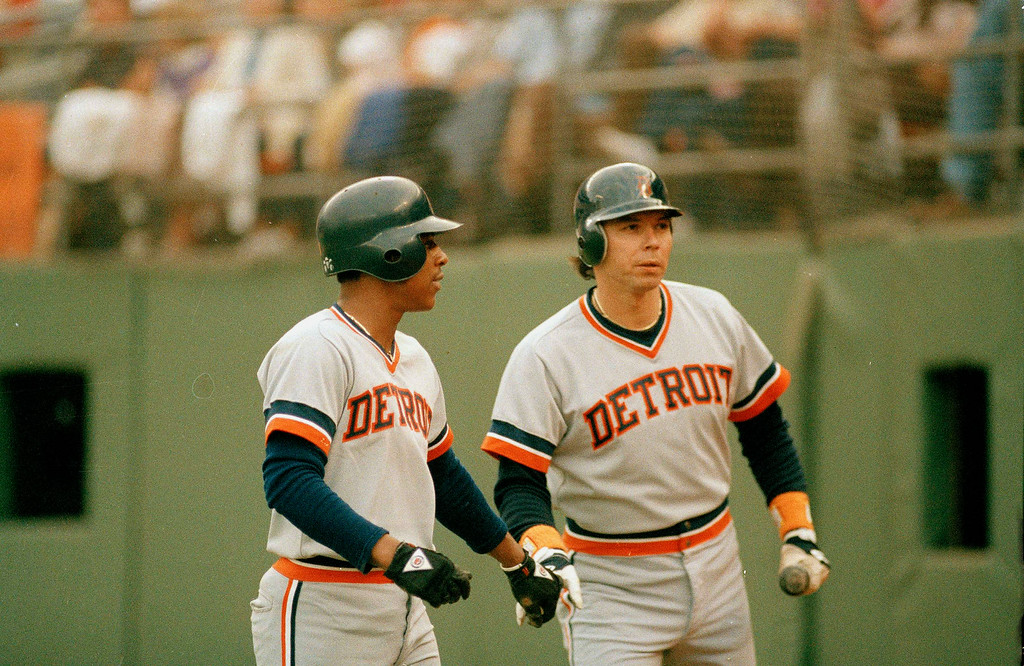 . Detroit Tigers 2nd baseman Lou Whittaker, left, with designated hitter Daryl Evans during the 1984 World Series against the San Diego Padres at Jack Murphy Stadium in San Diego, Oct. 1984. (AP Photo)