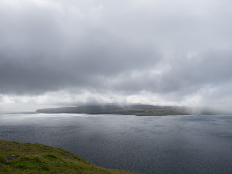 It was pouring down on the mainland across the water.