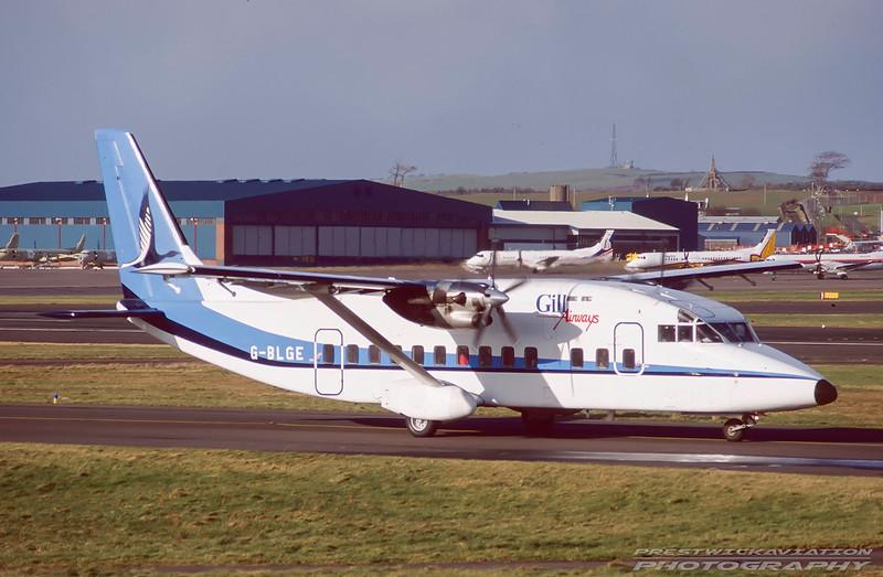 G-BLGE. Shorts SD-360. Gill Airways. Prestwick. February. 1991.