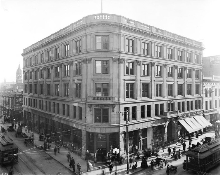 Exterior view of the Wilcox Building on the southeast corner of Spring Street and 2nd Street, ca.1905