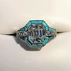 2.23ct Art Deco Emerald Cut and Turquoise Halo Ring 1