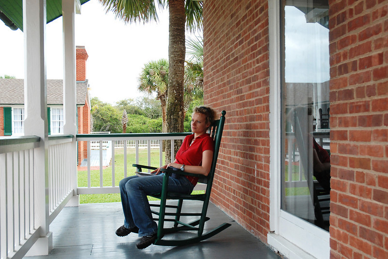 Kathleen relaxing on the porch of the lighthouse keeper's home