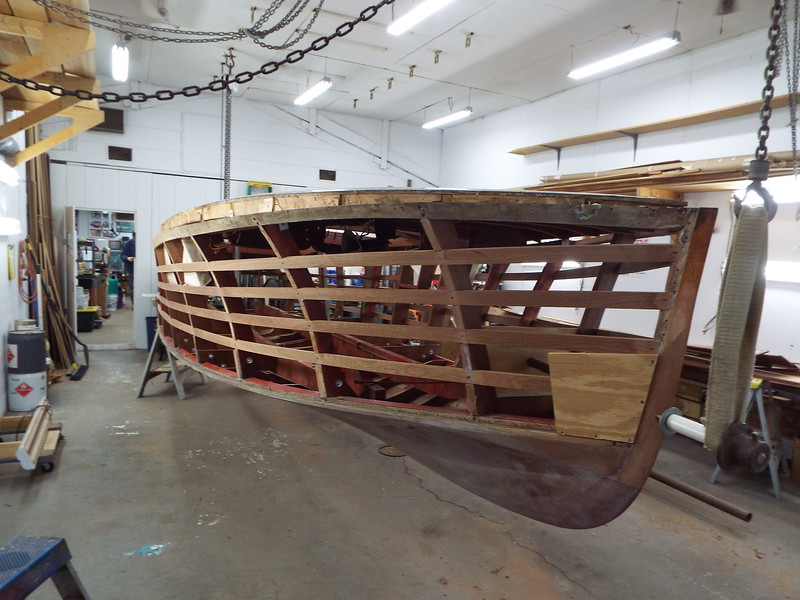Front starboard view of the hull right side up so we can continue building the new side skin.