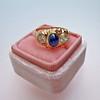1.75ctw Cab Sapphire and Old European Cut Diamond 3-stone Ring 36