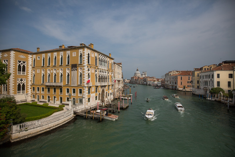 A view north up the grand canal from atop Ponte dell'Accademia.