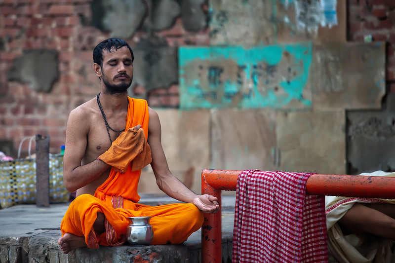 Devout Concentration by the Ganges, Varanasi, India