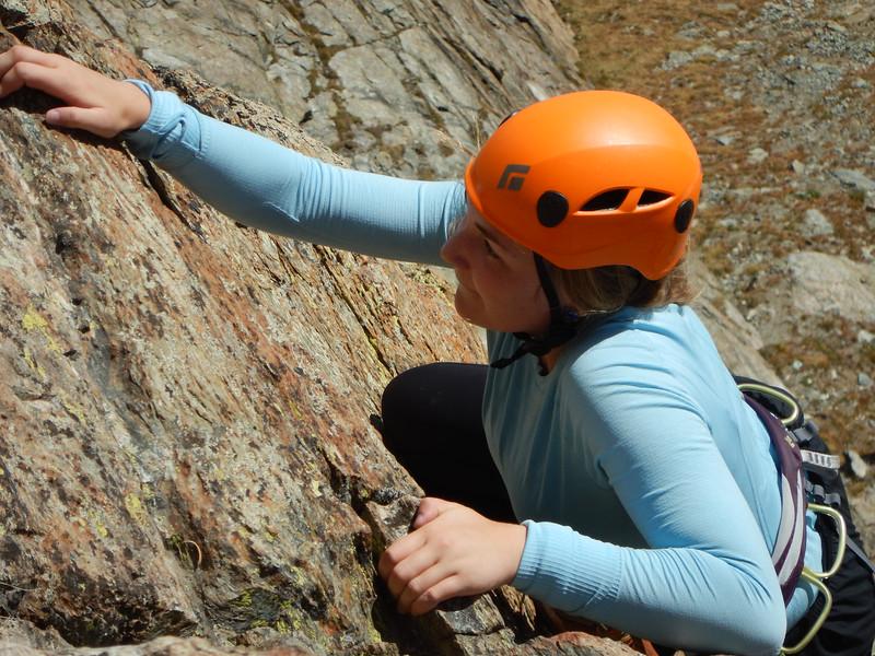 Ema climbing on Riffelhorn